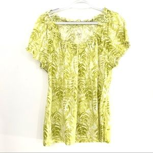 Ann Taylor Loft Womens M Green White Floral Top